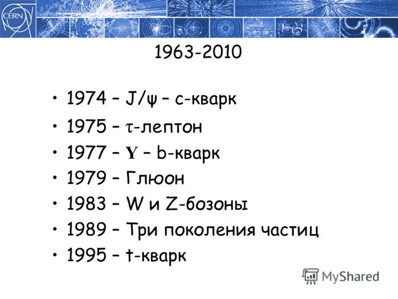 1963-2010 1974 – J/ψ – c-кварк 1975 – τ -лептон 1977 – Υ – b-кварк 1979 – Глюон 1983 – W и Z-бозоны 1989 – Три поколения частиц 1995 – t-кварк
