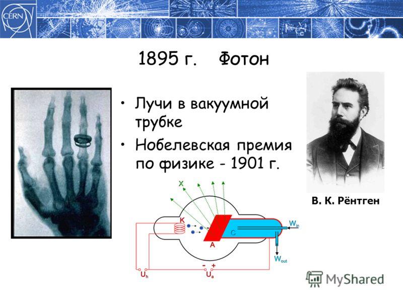 1895 г. Фотон Лучи в вакуумной трубке Нобелевская премия по физике - 1901 г. В. К. Рёнтген
