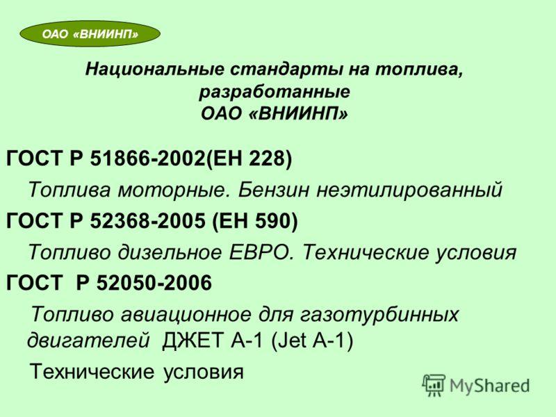 Национальные стандарты на топлива, разработанные ОАО «ВНИИНП» ГОСТ Р 51866-2002(ЕН 228) Топлива моторные. Бензин неэтилированный ГОСТ Р 52368-2005 (ЕН 590) Топливо дизельное ЕВРО. Технические условия ГОСТ Р 52050-2006 Топливо авиационное для газотурб