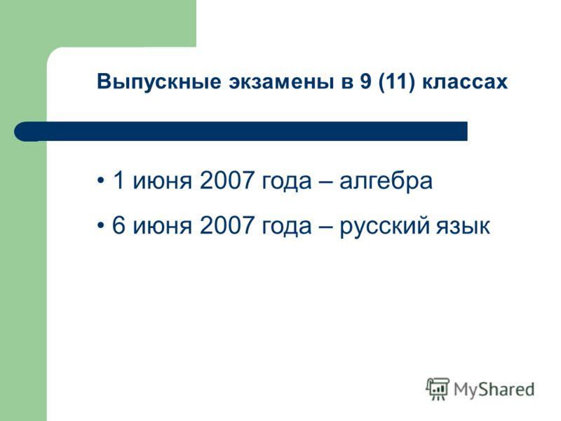 Выпускные экзамены в 9 (11) классах 1 июня 2007 года – алгебра 6 июня 2007 года – русский язык