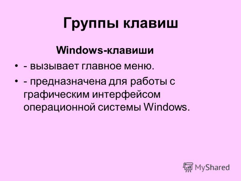 Группы клавиш Windows-клавиши - вызывает главное меню. - предназначена для работы с графическим интерфейсом операционной системы Windows.