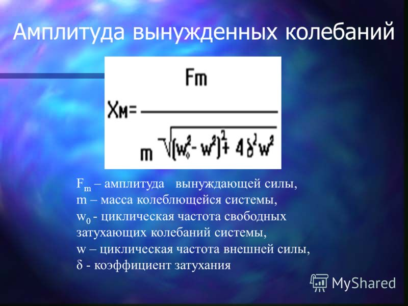 F m – амплитуда вынуждающей силы, m – масса колеблющейся системы, w 0 - циклическая частота свободных затухающих колебаний системы, w – циклическая частота внешней силы, δ - коэффициент затухания Амплитуда вынужденных колебаний