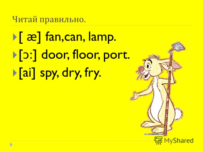 Читай правильно. [ ӕ ] fan,can, lamp. [: ] door, floor, port. [ai] spy, dry, fry.