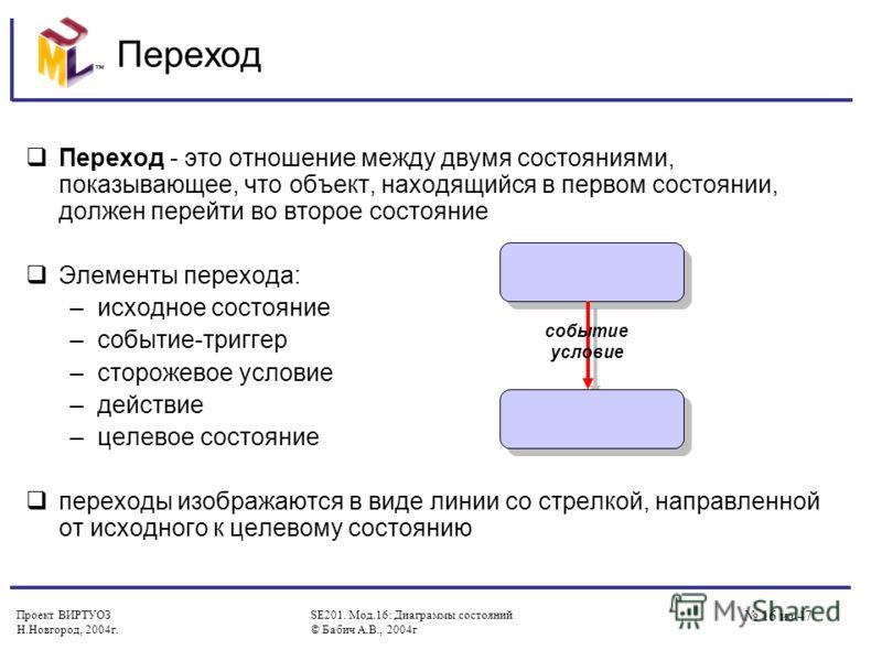 Проект ВИРТУОЗ Н.Новгород, 2004г. SE201. Мод.16: Диаграммы состояний © Бабич А.В., 2004г 16 из 47 Переход Переход - это отношение между двумя состояниями, показывающее, что объект, находящийся в первом состоянии, должен перейти во второе состояние Эл