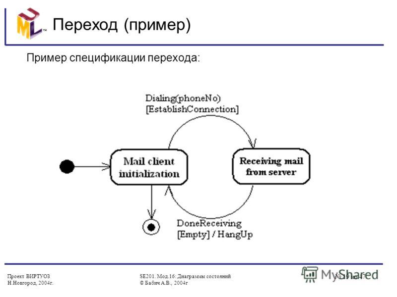 Проект ВИРТУОЗ Н.Новгород, 2004г. SE201. Мод.16: Диаграммы состояний © Бабич А.В., 2004г 19 из 47 Переход (пример) Пример спецификации перехода: