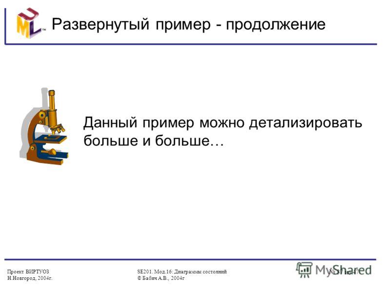 Проект ВИРТУОЗ Н.Новгород, 2004г. SE201. Мод.16: Диаграммы состояний © Бабич А.В., 2004г 37 из 47 Развернутый пример - продолжение Данный пример можно детализировать больше и больше…