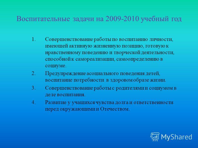 Воспитательные задачи на 2009-2010 учебный год 1.Совершенствование работы по воспитанию личности, имеющей активную жизненную позицию, готовую к нравственному поведению и творческой деятельности, способной к самореализации, самоопределению в социуме.