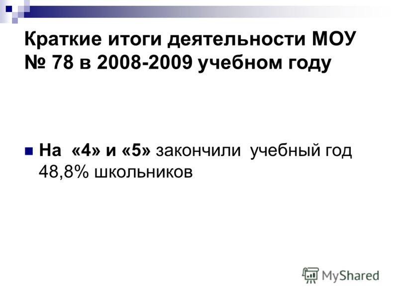 Краткие итоги деятельности МОУ 78 в 2008-2009 учебном году На «4» и «5» закончили учебный год 48,8% школьников