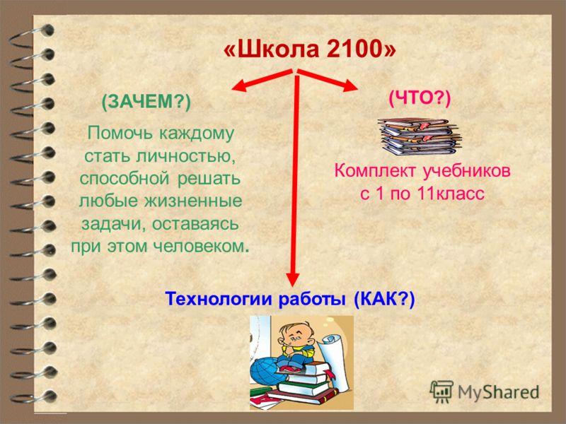 «Школа 2100» (ЗАЧЕМ?) Помочь каждому стать личностью, способной решать любые жизненные задачи, оставаясь при этом человеком. (ЧТО?) Технологии работы (КАК?) Комплект учебников с 1 по 11класс
