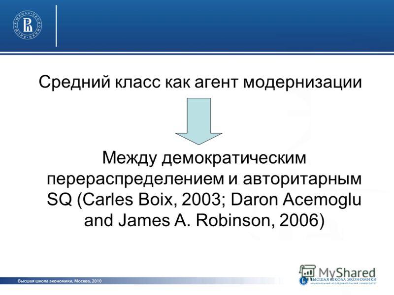 Средний класс как агент модернизации Между демократическим перераспределением и авторитарным SQ (Carles Boix, 2003; Daron Acemoglu and James A. Robinson, 2006)
