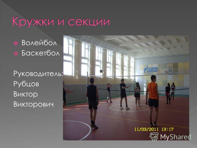 Волейбол Баскетбол Руководитель: Рубцов Виктор Викторович