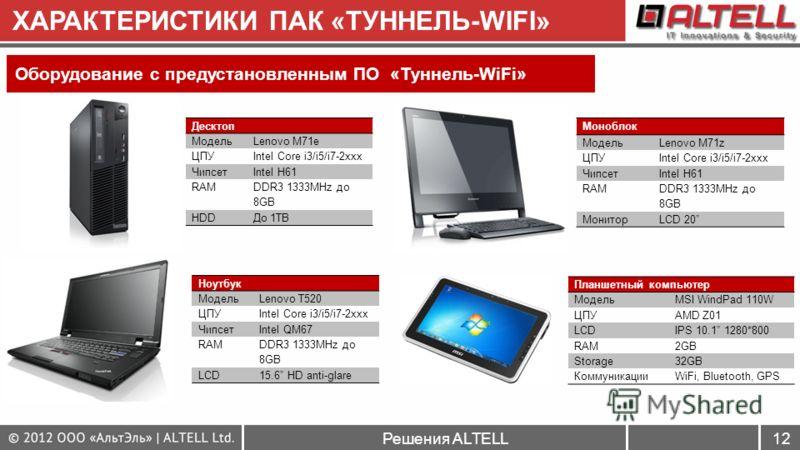 Решения ALTELL12 ХАРАКТЕРИСТИКИ ПАК «ТУННЕЛЬ-WIFI» Оборудование с предустановленным ПО «Туннель-WiFi» Десктоп МодельLenovo M71e ЦПУIntel Core i3/i5/i7-2xxx ЧипсетIntel H61 RAM DDR3 1333MHz до 8GB HDDДо 1TB Моноблок МодельLenovo M71z ЦПУIntel Core i3/