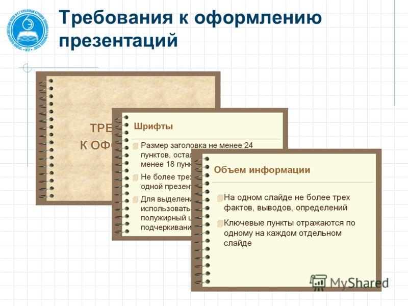 Требования к оформлению презентаций