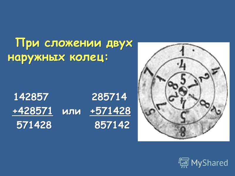 При сложении двух наружных колец: 142857 285714 +428571 или +571428 +428571 или +571428 571428 857142 571428 857142