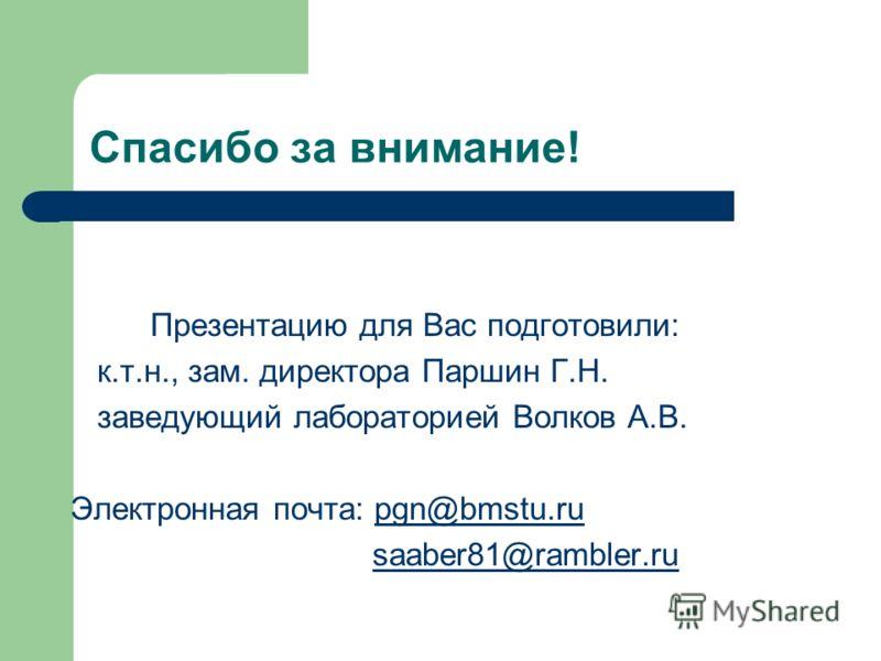 Спасибо за внимание! Презентацию для Вас подготовили: к.т.н., зам. директора Паршин Г.Н. заведующий лабораторией Волков А.В. Электронная почта: pgn@bmstu.rupgn@bmstu.ru saaber81@rambler.ru