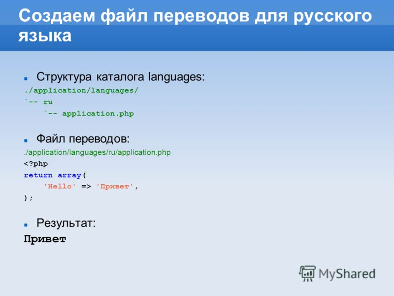 Создаем файл переводов для русского языка Структура каталога languages:./application/languages/ `-- ru `-- application.php Файл переводов:./application/languages/ru/application.php