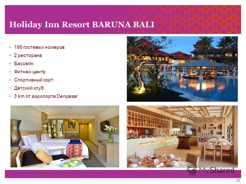 33 Holiday Inn Resort BARUNA BALI 195 гостевых номеров 2 ресторана Бассейн Фитнес-центр Спортивный корт Детский клуб 3 km от аэропорта Denpasar