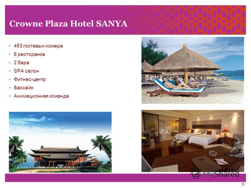 35 Crowne Plaza Hotel SANYA 463 гостевых номера 6 ресторанов 2 бара SPA салон Фитнес-центр Бассейн Анимационная команда
