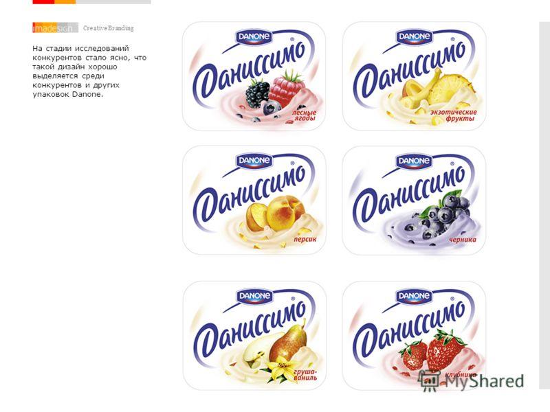 Creative Branding На стадии исследований конкурентов стало ясно, что такой дизайн хорошо выделяется среди конкурентов и других упаковок Danone.