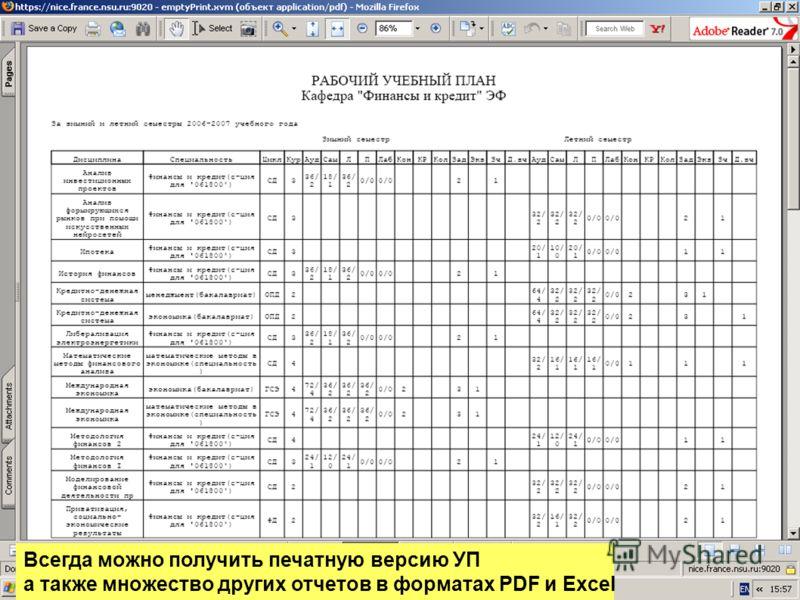 Всегда можно получить печатную версию УП а также множество других отчетов в форматах PDF и Excel