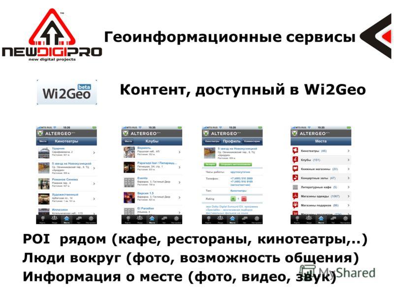 Геоинформационные сервисы Контент, доступный в Wi2Geo POI рядом (кафе, рестораны, кинотеатры,..) Люди вокруг (фото, возможность общения) Информация о месте (фото, видео, звук)