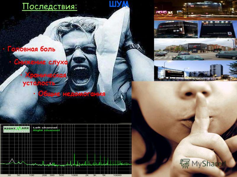 ШУМ Хроническая усталость Общие недомогания Головная боль Снижение слуха Последствия: