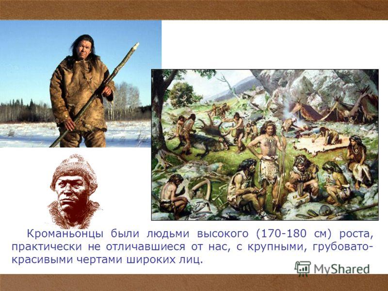 7 Кроманьонцы были людьми высокого (170-180 см) роста, практически не отличавшиеся от нас, с крупными, грубовато- красивыми чертами широких лиц.