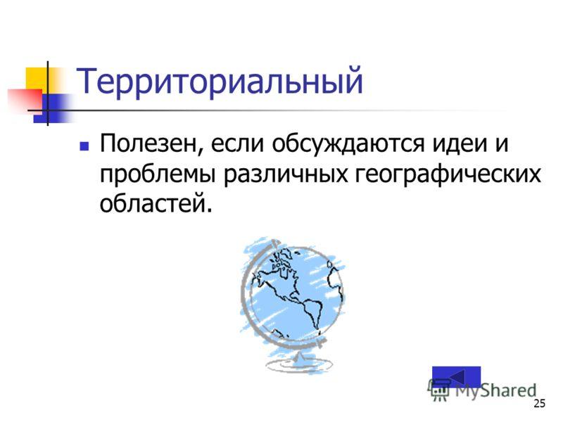 25 Территориальный Полезен, если обсуждаются идеи и проблемы различных географических областей.