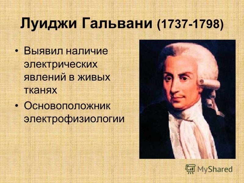 Луиджи Гальвани (1737-1798) Выявил наличие электрических явлений в живых тканях Основоположник электрофизиологии