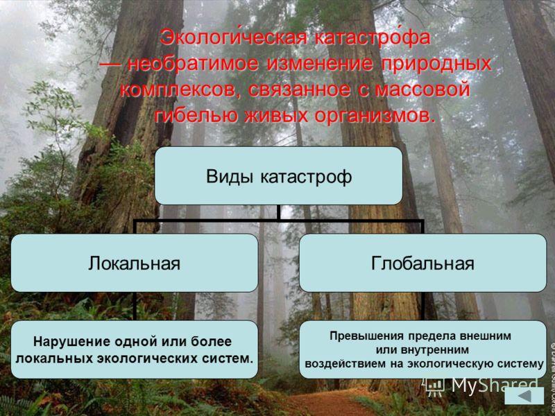 Экологи́ческая катастро́фа необратимое изменение природных комплексов, связанное с массовой гибелью живых организмов. Виды катастроф Локальная Нарушение одной или более локальных экологических систем. Глобальная Превышения предела внешним или внутрен