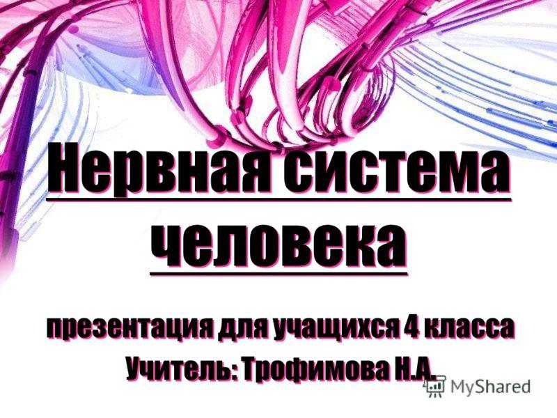 Нервная система человека презентация для учащихся 4 класса Учитель: Трофимова Н.А. презентация для учащихся 4 класса Учитель: Трофимова Н.А.