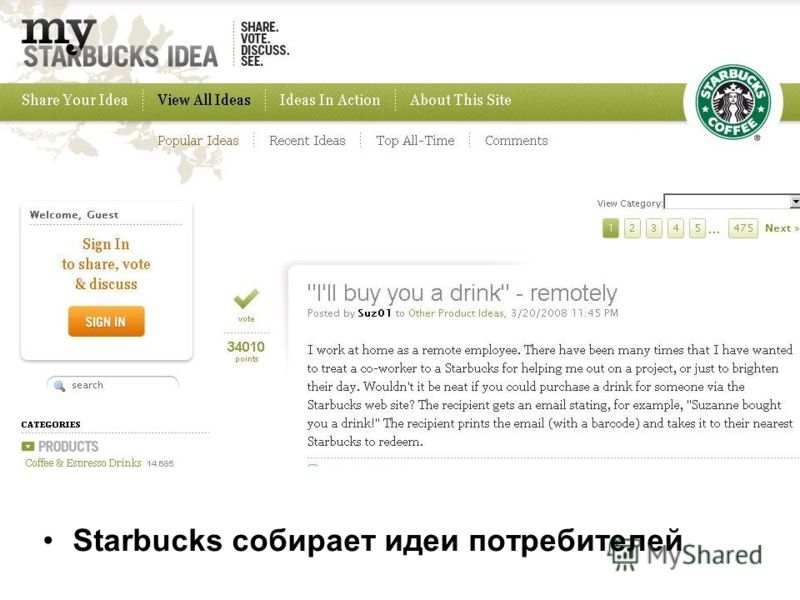 Starbucks собирает идеи потребителей
