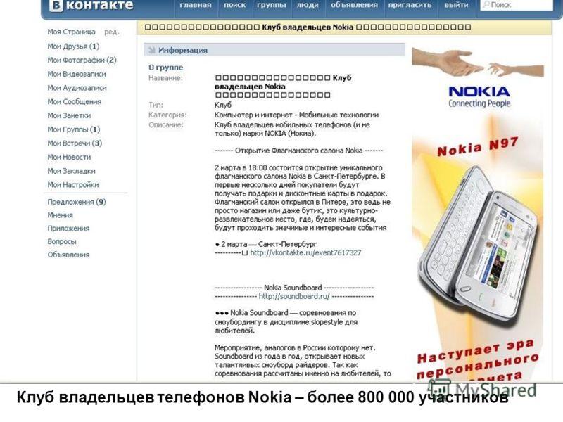 Клуб владельцев телефонов Nokia – более 800 000 участников