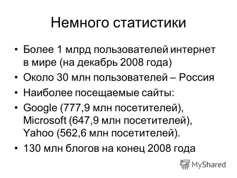 Немного статистики Более 1 млрд пользователей интернет в мире (на декабрь 2008 года) Около 30 млн пользователей – Россия Наиболее посещаемые сайты: Google (777,9 млн посетителей), Microsoft (647,9 млн посетителей), Yahoo (562,6 млн посетителей). 130