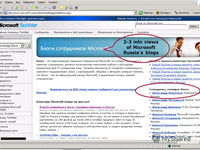2-3 mln views of Microsoft Russias blogs