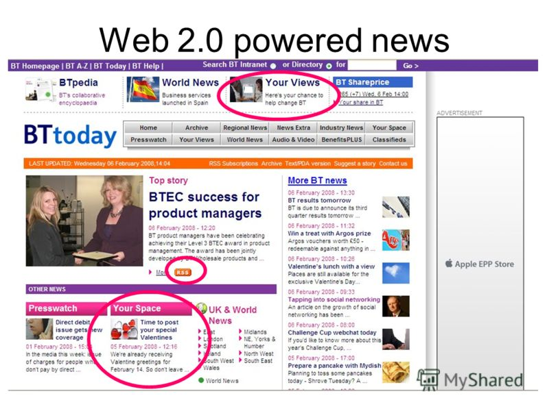 Web 2.0 powered news