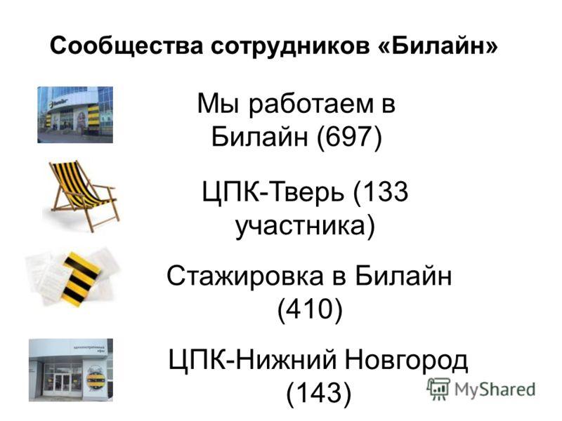 Сообщества сотрудников «Билайн» Мы работаем в Билайн (697) ЦПК-Тверь (133 участника) Стажировка в Билайн (410) ЦПК-Нижний Новгород (143)
