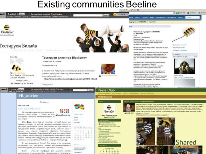 Existing communities Beeline