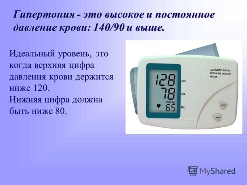 Гипертония - это высокое и постоянное давление крови: 140/90 и выше. Идеальный уровень, это когда верхняя цифра давления крови держится ниже 120. Нижняя цифра должна быть ниже 80.
