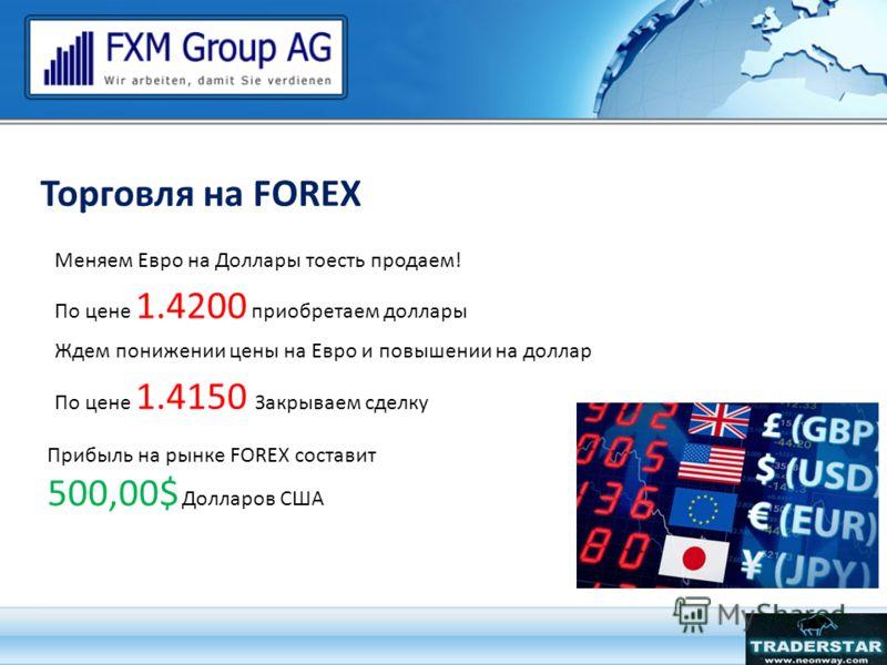 Торговля на FOREX Меняем Евро на Доллары тоесть продаем! По цене 1.4200 приобретаем доллары Ждем понижении цены на Евро и повышении на доллар По цене 1.4150 Закрываем сделку Прибыль на рынке FOREX составит 500,00$ Долларов США