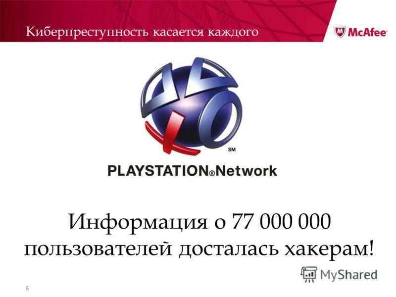 6 Киберпреступность касается каждого Информация о 77 000 000 пользователей досталась хакерам!