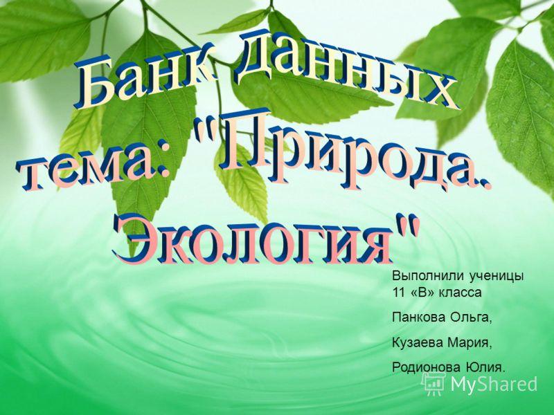 Выполнили ученицы 11 «В» класса Панкова Ольга, Кузаева Мария, Родионова Юлия.