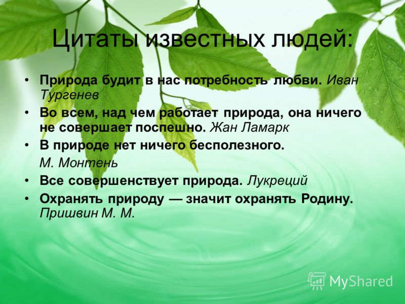 Цитаты известных людей: Природа будит в нас потребность любви. Иван Тургенев Во всем, над чем работает природа, она ничего не совершает поспешно. Жан Ламарк В природе нет ничего бесполезного. М. Монтень Все совершенствует природа. Лукреций Охранять п