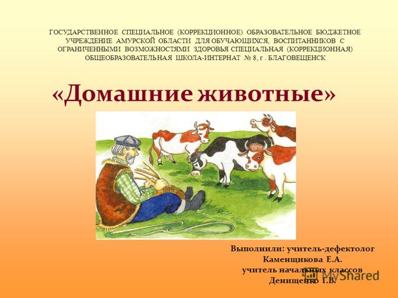 «Домашние животные» ГОСУДАРСТВЕННОЕ СПЕЦИАЛЬНОЕ (КОРРЕКЦИОННОЕ) ОБРАЗОВАТЕЛЬНОЕ БЮДЖЕТНОЕ УЧРЕЖДЕНИЕ АМУРСКОЙ ОБЛАСТИ ДЛЯ ОБУЧАЮЩИХСЯ, ВОСПИТАННИКОВ С ОГРАНИЧЕННЫМИ ВОЗМОЖНОСТЯМИ ЗДОРОВЬЯ СПЕЦИАЛЬНАЯ (КОРРЕКЦИОННАЯ) ОБЩЕОБРАЗОВАТЕЛЬНАЯ ШКОЛА-ИНТЕРНАТ