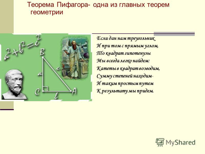 Теорема Пифагора- одна из главных теорем геометрии Если дан нам треугольник И при том с прямым углом, То квадрат гипотенузы Мы всегда легко найдем: Катеты в квадрат возводим, Сумму степеней находим- И таким простым путем К результату мы придем.