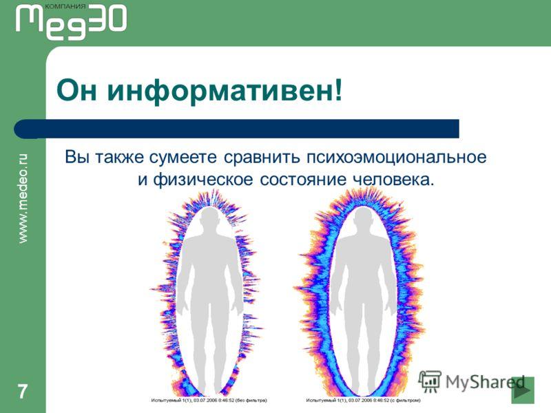 www.medeo.ru 7 Он информативен! Вы также сумеете сравнить психоэмоциональное и физическое состояние человека.