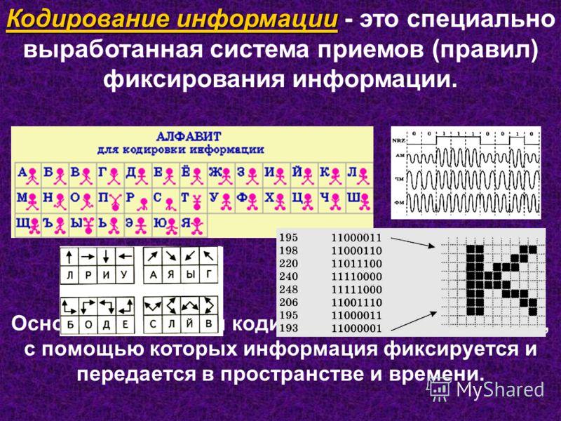 Кодирование информации Кодирование информации - это специально выработанная система приемов (правил) фиксирования информации. Основные атрибуты кодирования - код, знак, язык, с помощью которых информация фиксируется и передается в пространстве и врем