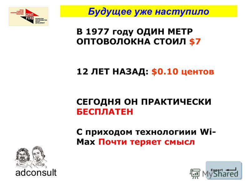 Будущее уже наступило В 1977 году ОДИН МЕТР ОПТОВОЛОКНА СТОИЛ $7 12 ЛЕТ НАЗАД: $0.10 центов СЕГОДНЯ ОН ПРАКТИЧЕСКИ БЕСПЛАТЕН С приходом технологиии Wi- Max Почти теряет смысл adconsult