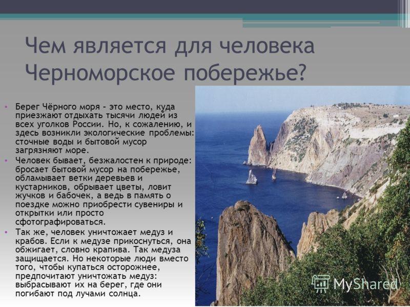Чем является для человека Черноморское побережье? Берег Чёрного моря – это место, куда приезжают отдыхать тысячи людей из всех уголков России. Но, к сожалению, и здесь возникли экологические проблемы: сточные воды и бытовой мусор загрязняют море. Чел