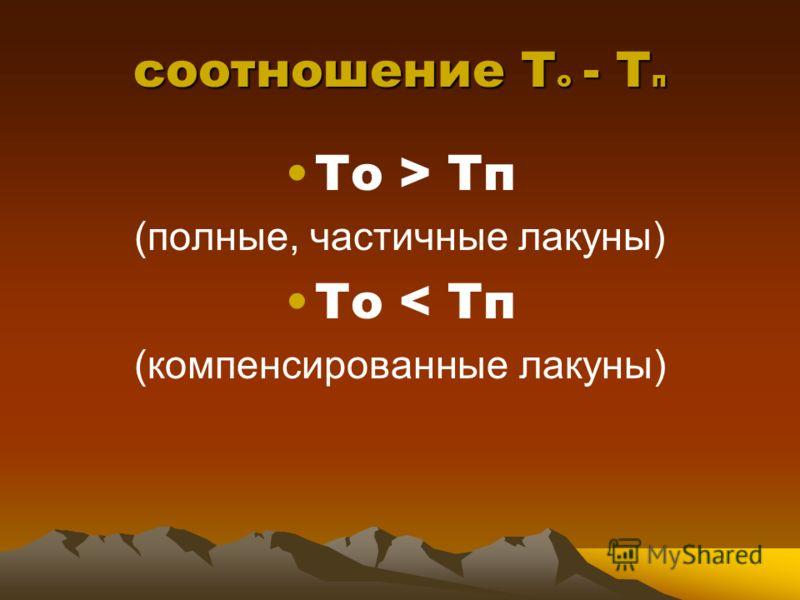 соотношение Т о - Т п То > Тп (полные, частичные лакуны) То < Тп (компенсированные лакуны)